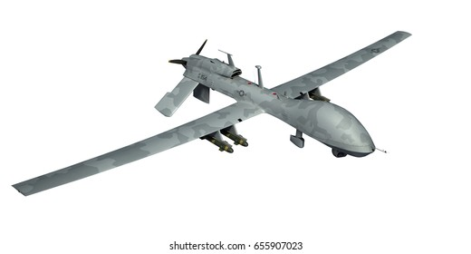 MQ-1C Gray Eagle military drone. Gray camouflage. Artist concept. Isolated 3d render.