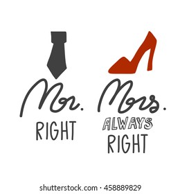 Mr. Right and Mrs. Always right illustration