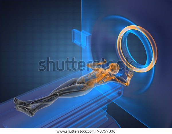 MRI examination made in 3D graphics
