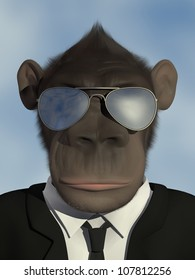 Mr.Monkey in business suit with sunglasses