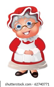 Mrs Claus with a bonnet and her hands folded