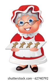 Mrs Claus with a Tray of Gingerbread Cookies
