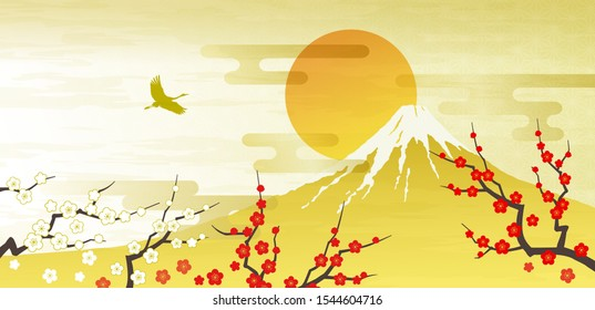 Mt. Fuji, Red and white plum first sunrise