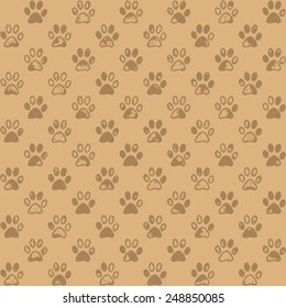 Muddy paw prints in subdued browns, a seamless background pattern