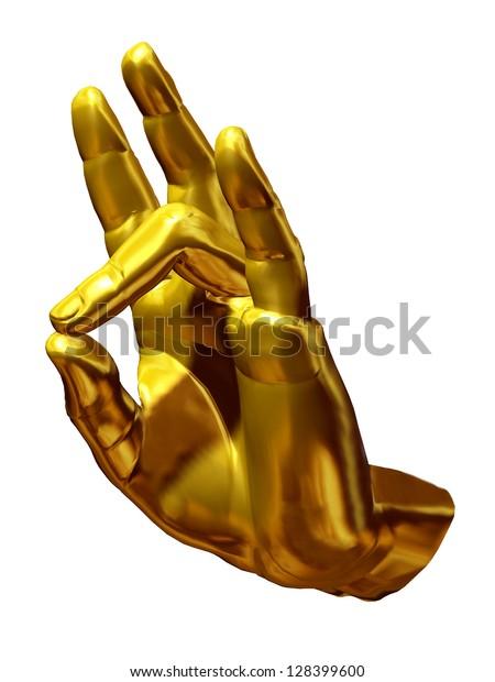 """Mudras"", golden Hand position, a symbolic Gesture show the ""prithvi mudra"""
