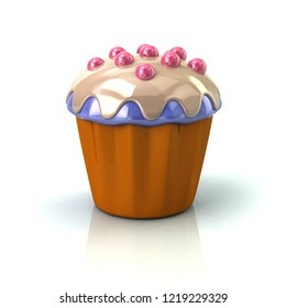 Muffin icon 3d illustration on white background