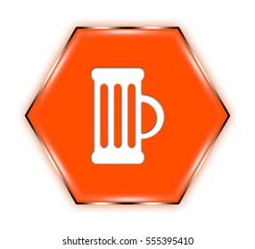 "mug button isolated. ""3d illustration"""