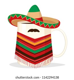 Mug of coffee or tea in a national costume of Mexica with a mustache (illustration)