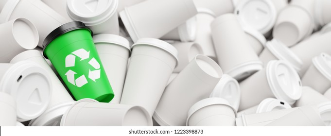 A mug with a green recycling logo stands out from a pile of waste coffee cups (3D Rendering)
