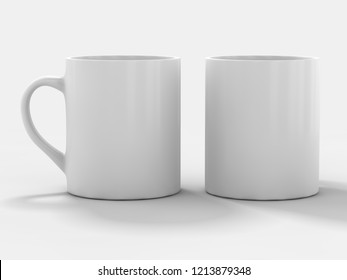 Mug Mockup standing on the surface. 3D rendering