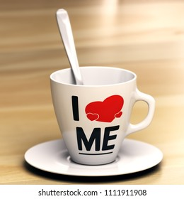 Mug with the phrase i love me on wooden table. Concept of egocentric or self-centredness. 3D illustration.