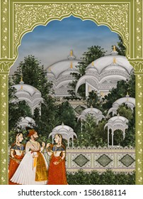 Mughal Arch And Garden Illustration Manual artwork