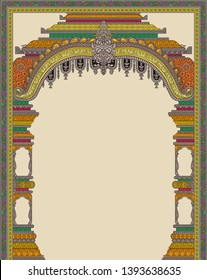 Mughal architecture miniature Painting Manually Illustrated Mughal Building Painting artwork