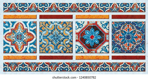 Mughal art Abstract Wall Tile Decorative Art Background Texture Design.