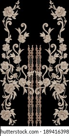Mughal Art Indian traditional style Embroidery Sketching Beautiful colours Flower Design wallpaper