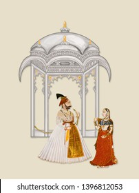 Mughal Art Painting Illustration manually illustrated handmade artwork