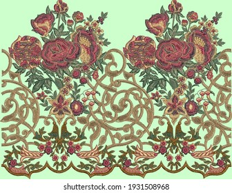 Mughal art work.indian traditional antique gold border