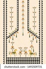 mughal concept manual illustration artwork for textile designs