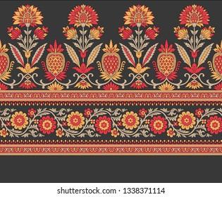 mughal floral border on black
