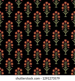 mughal floral bunch black ground green leaf seamless 01