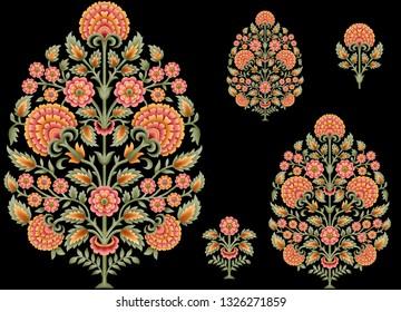 mughal floral motif black background 01
