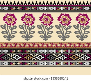 mughal floral motif border