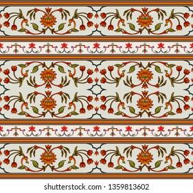 mughal floral motif border  border