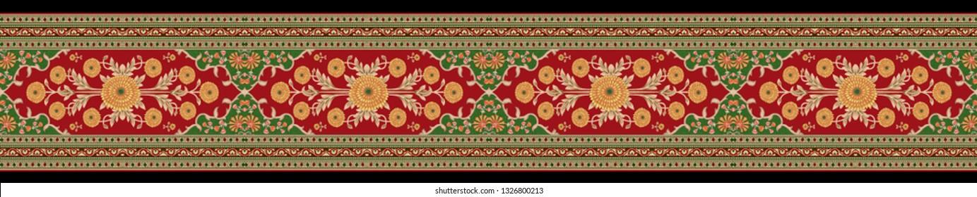 mughal floral motif border pattern 04