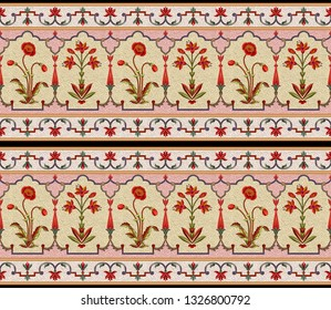 mughal floral motif border pattern