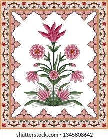 mughal floral motif bunch white background