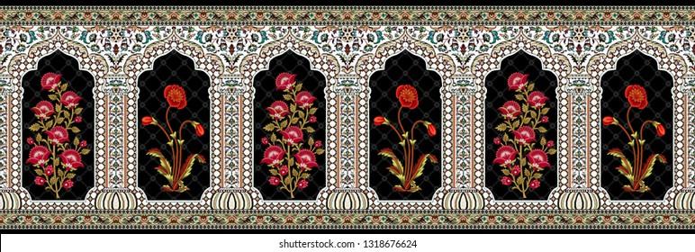 mughal floral motif decorative border 01