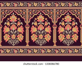 mughal floral motif decorative border