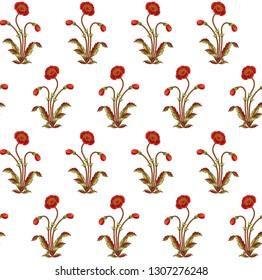 mughal floral motif white ground  seamless pattern