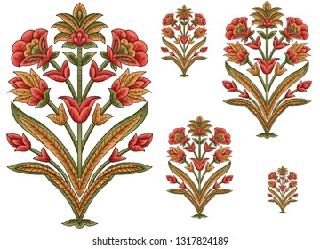 mughal floral motif white ground