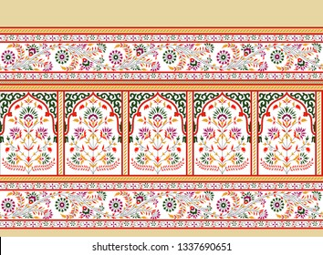 mughal floral with paisley border