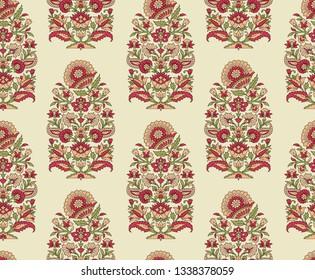 mughal floral paisley motif pattern on cream