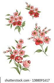 mughal floral pattern on watercolor