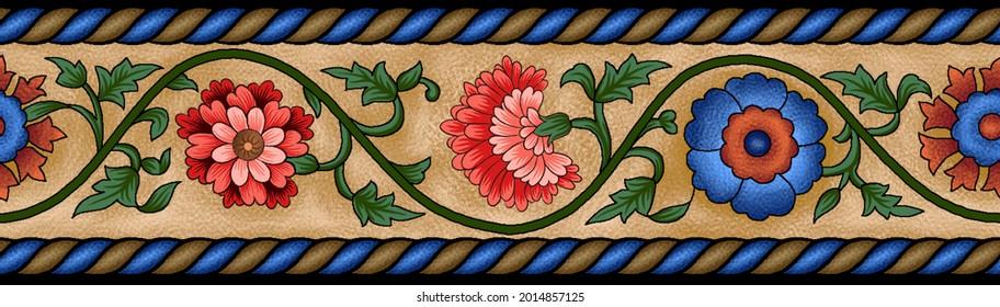 mughal flower borde.Garden Wall Oil-Paint Illustration Artwork for textile print.Indian Traditional Design Illustration For Textile Branding