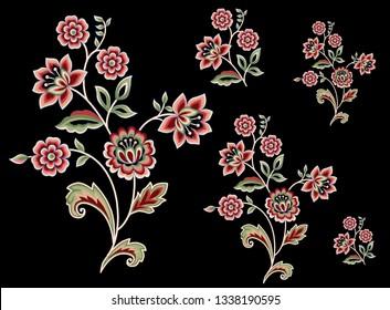 mughal flower bunch motif black background