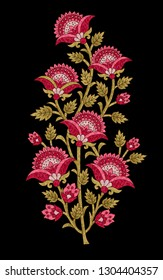 mughal flower motif black ground