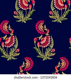 mughal flower motif navy background