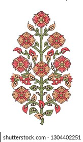 mughal flower motif white ground