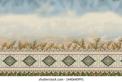 Mughal Garden Wall with leaves Oil-Paint Illustration artwork