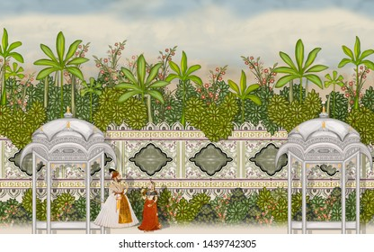 Mughal Garden Wall Oil-Paint Illustration  Artwork for textile print