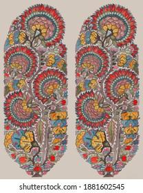 Mughal  Kashmiri Shawl Buta for printing and weaving for Shawl, Saree, Dress Material and furnishing