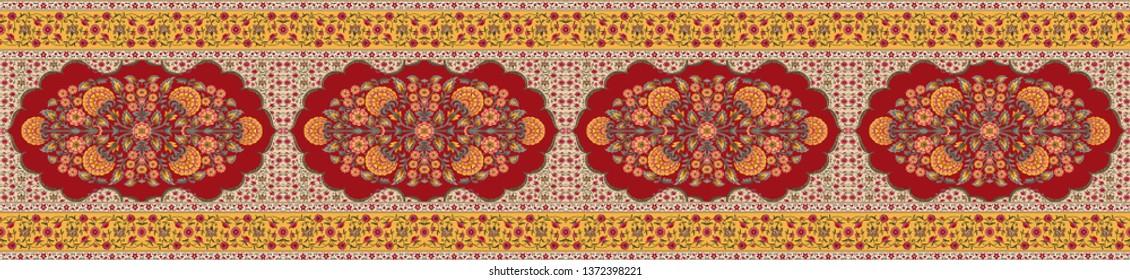 Mughal motif border pattern