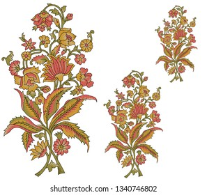 mughal paisley flower bunch motif white background