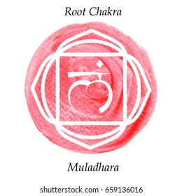Muladhara chakra on red watercolor background. Yoga mantra, energy concept. illustration