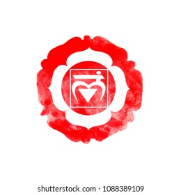 Muladhara chakra watercolor design illustration.