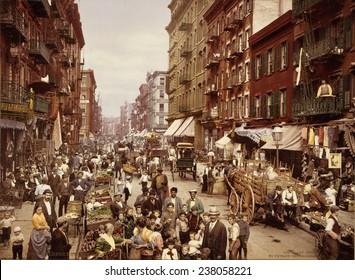 Mulberry Street New York City photochrom